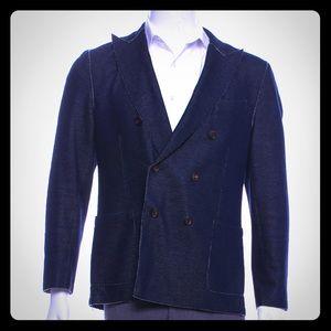 Eleventy Blue Wool Blend Double Breasted Sportcoat